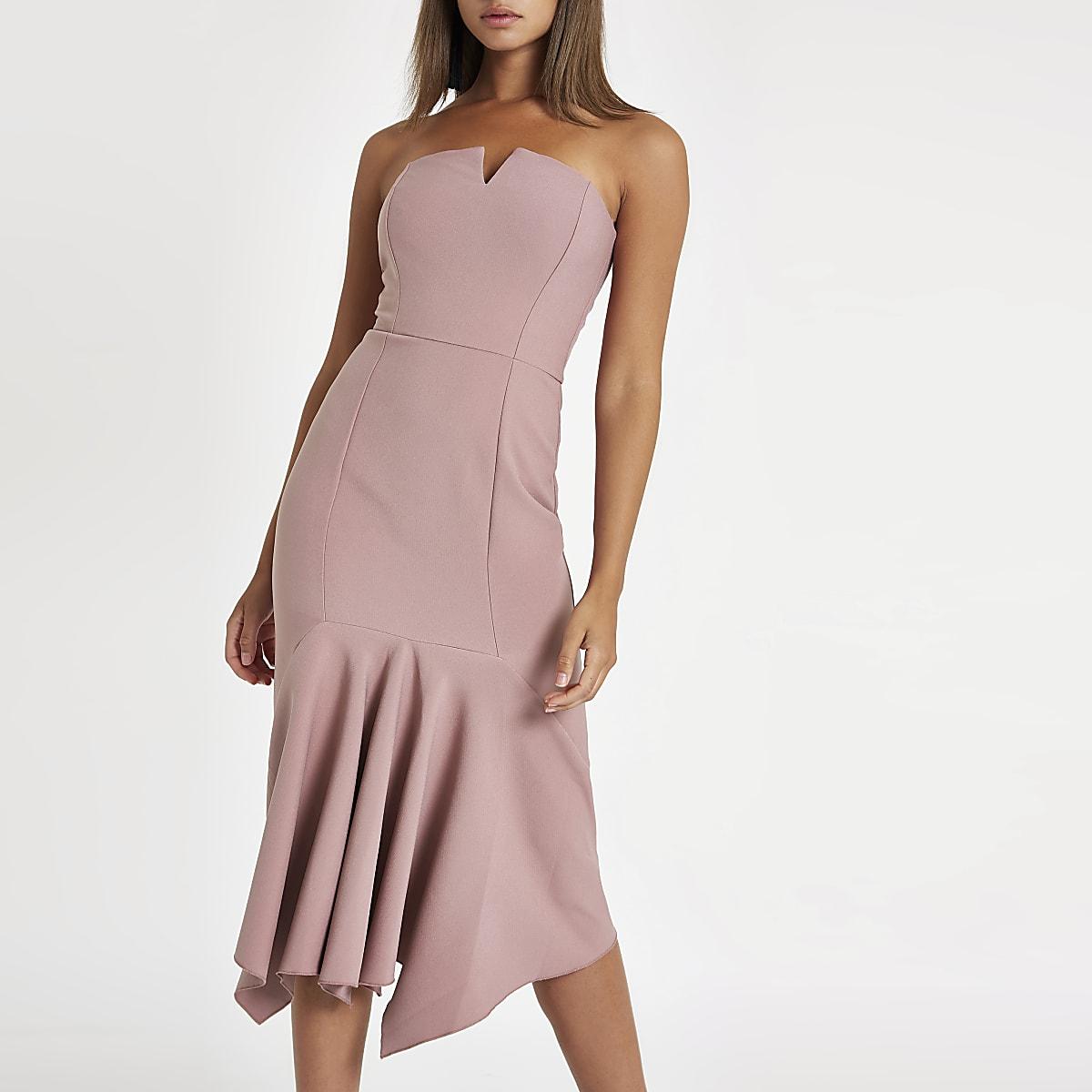 Pink frill hem bandeau midi dress