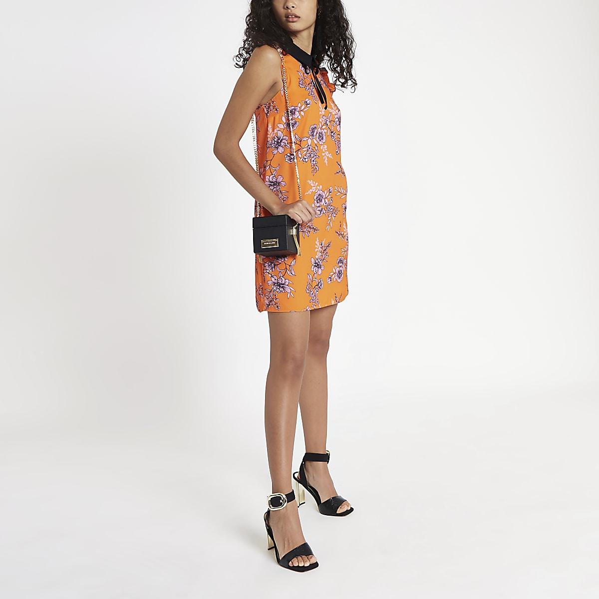 Orange floral bow collar dress