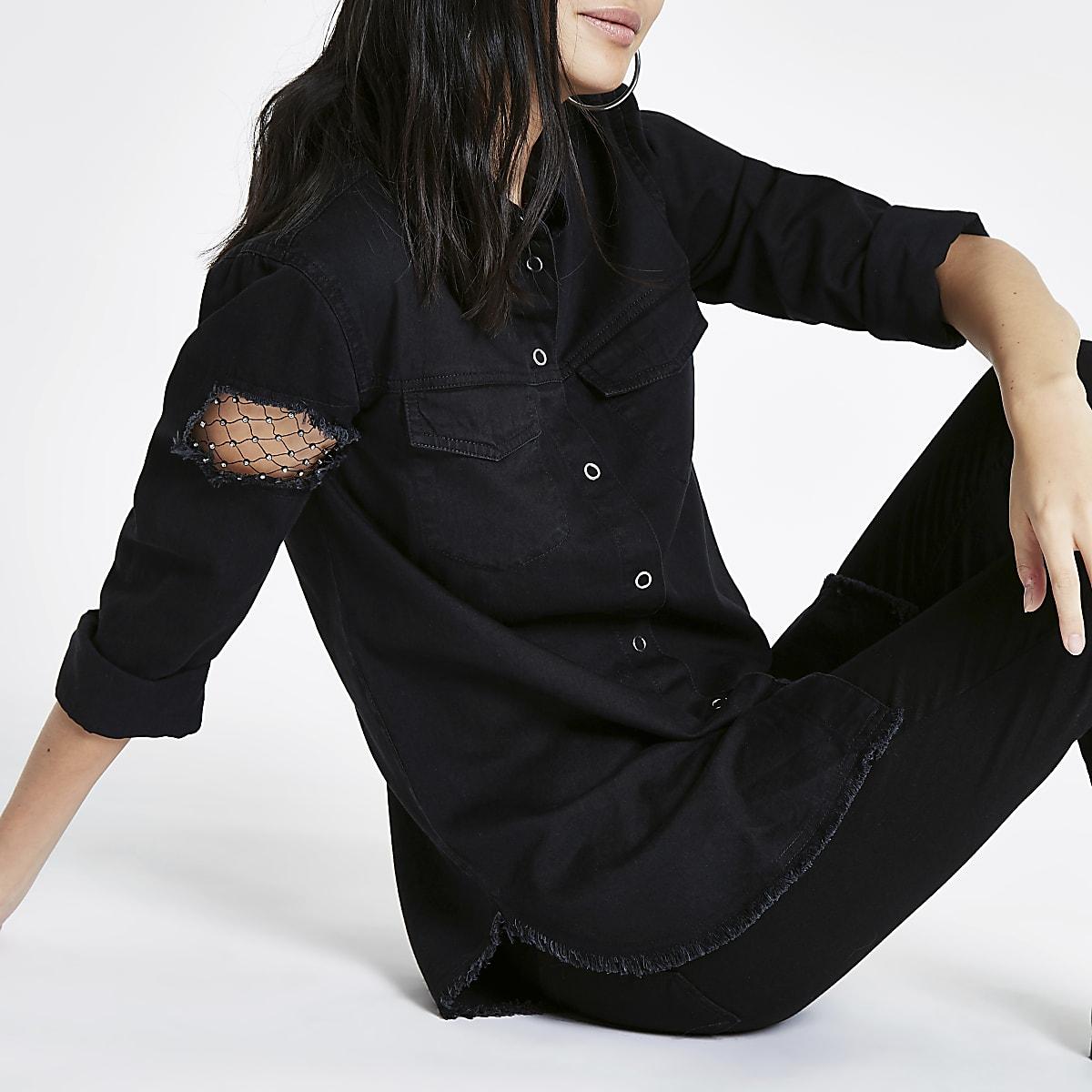 Zwart denim overhemd met inzetstuk van visnet en lange mouwen