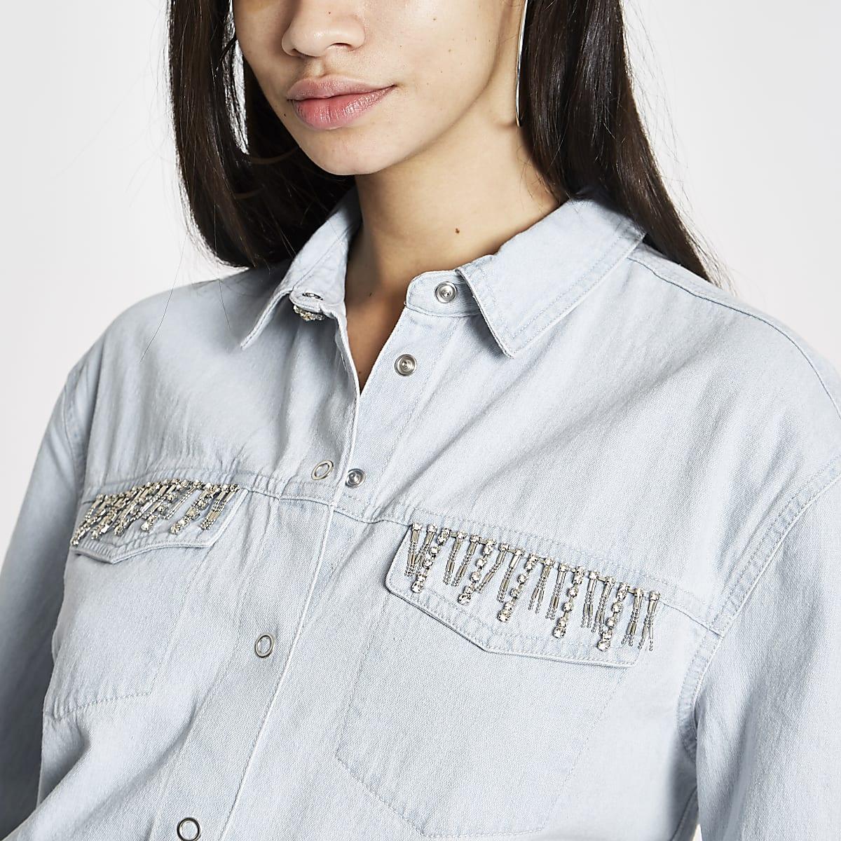 Light blue rhinestone embellished denim shirt
