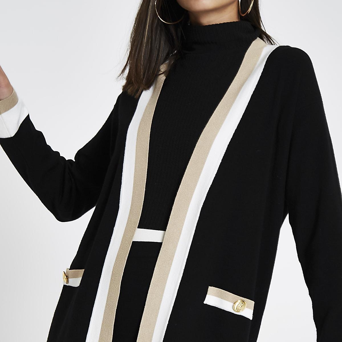 Black knit varsity cardigan