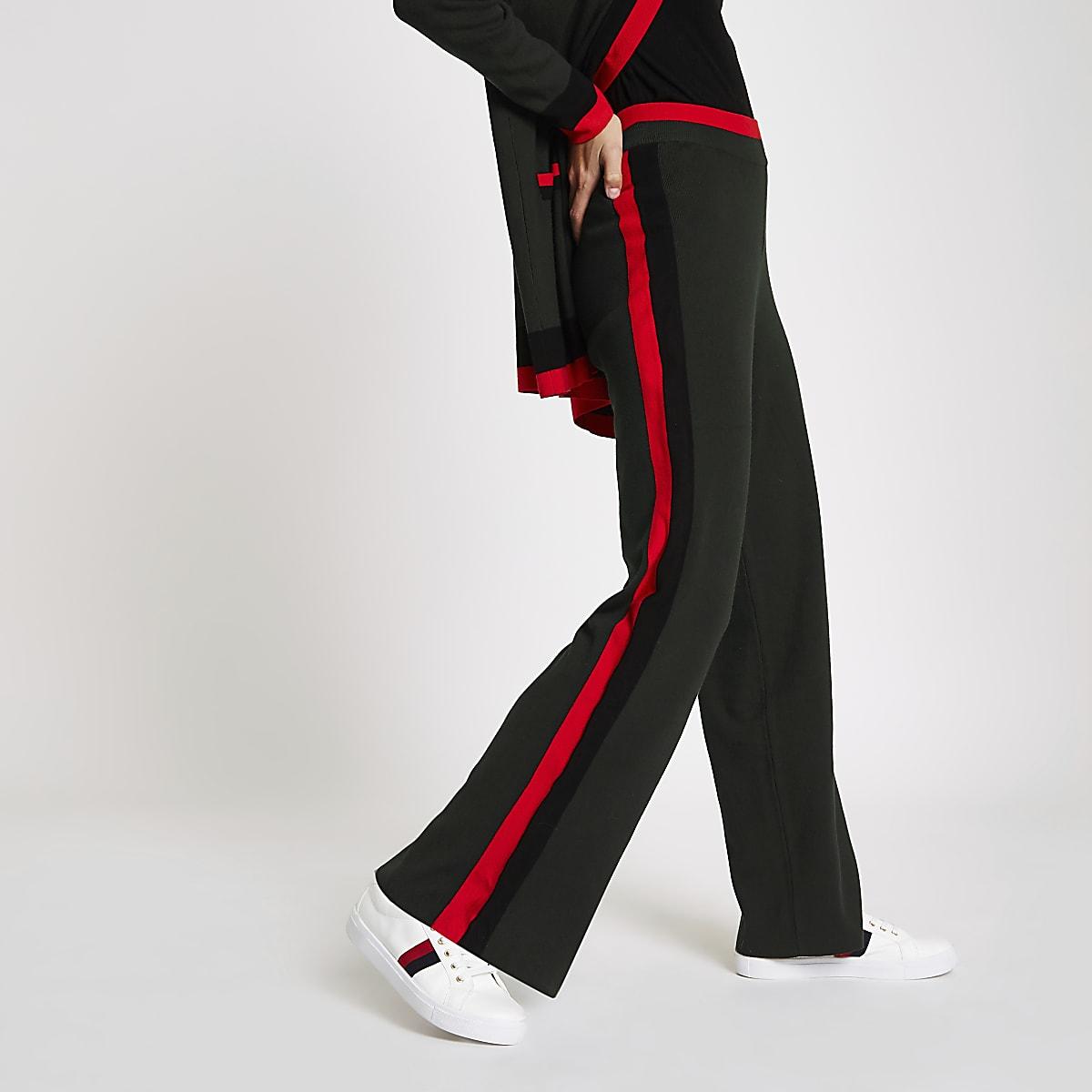 Khaki knitted side stripe trousers