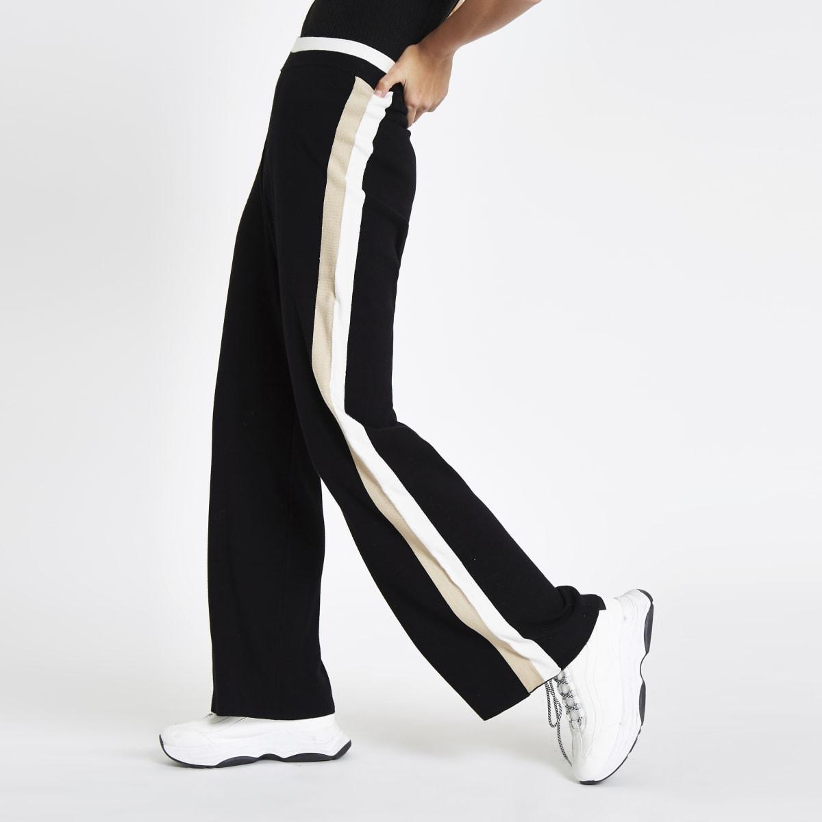 Schwarze Varsity-Hose mit Seitenstreifen