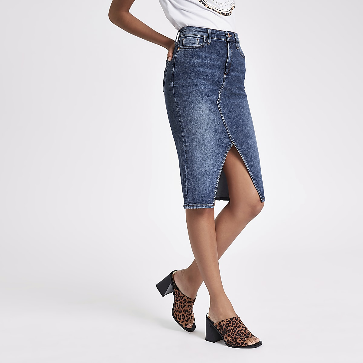 Mid blue denim pencil skirt