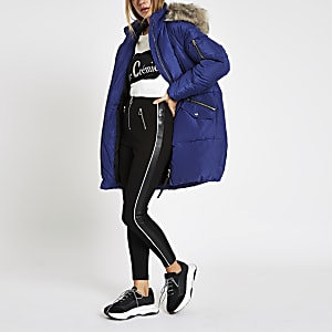 Blue faux fur trim longline puffer jacket