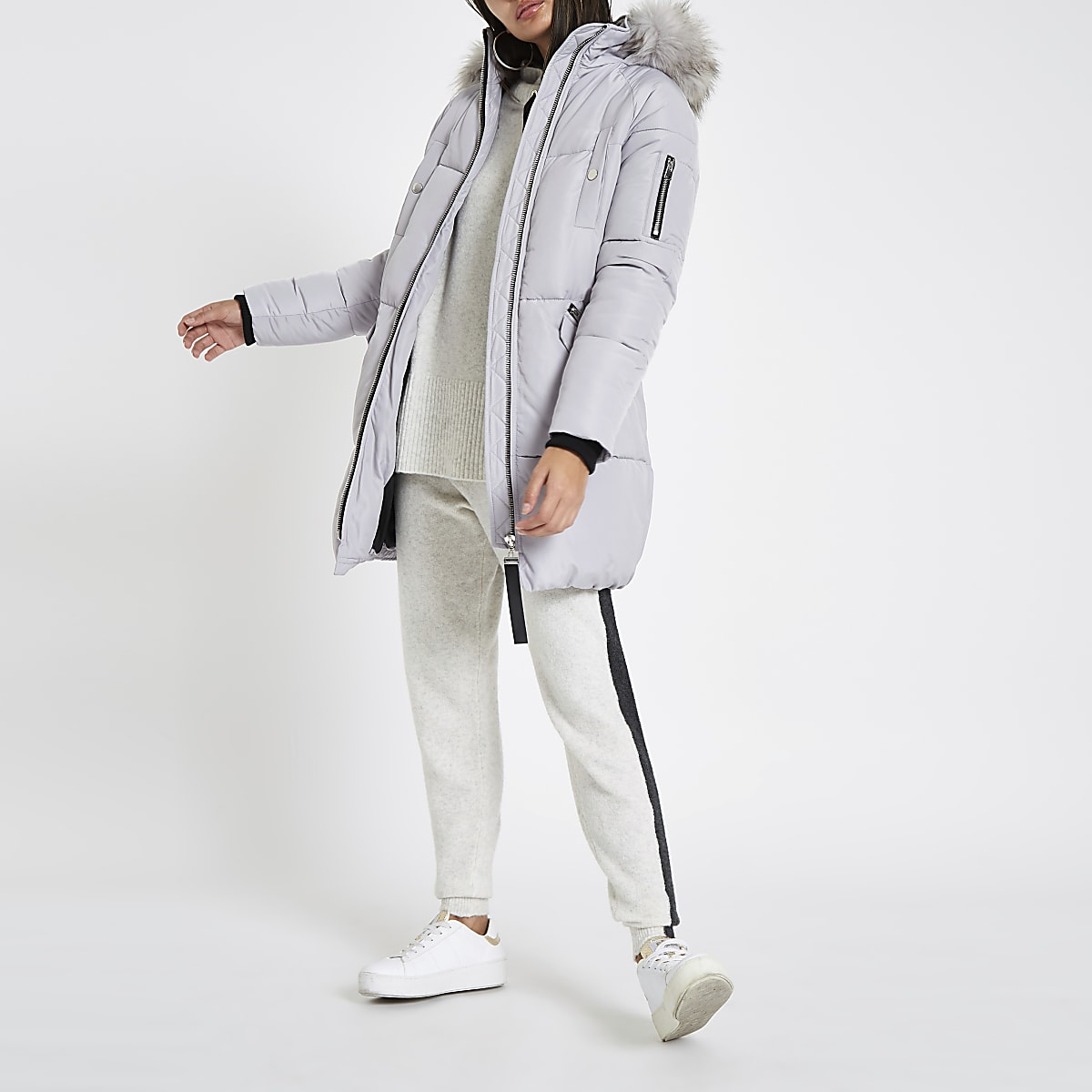 1b4ab40dbdf2 Grey faux fur trim longline puffer jacket - Coats - Coats & Jackets - women