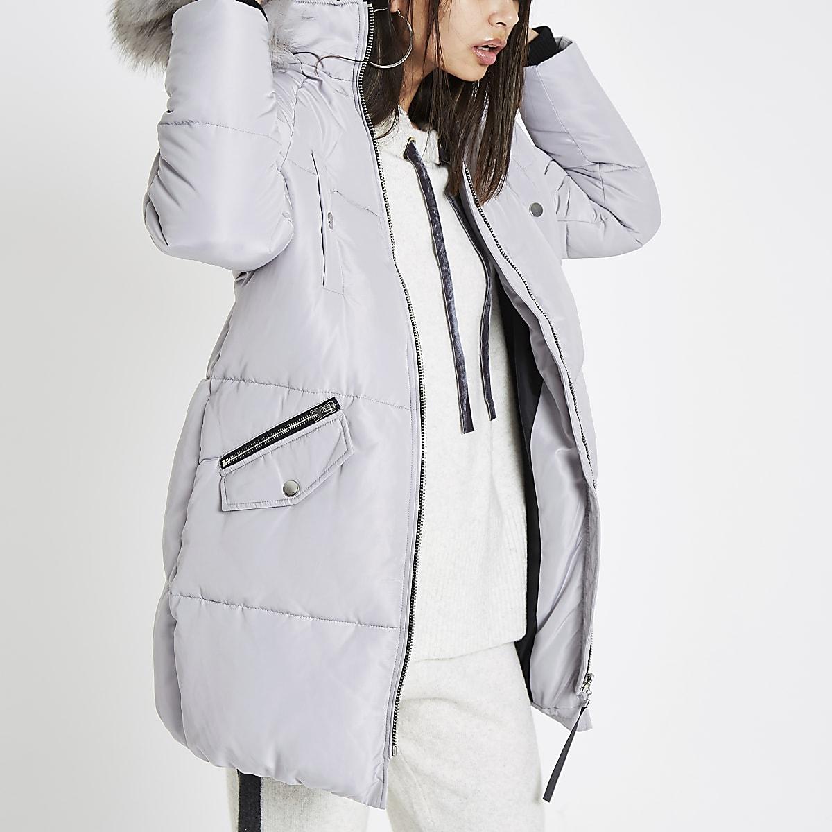11044865856 Grey faux fur trim longline puffer jacket