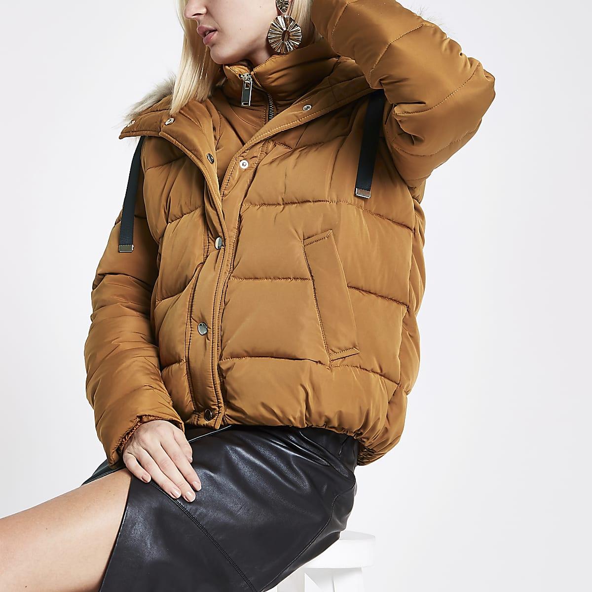 Tan faux fur hooded puffer jacket