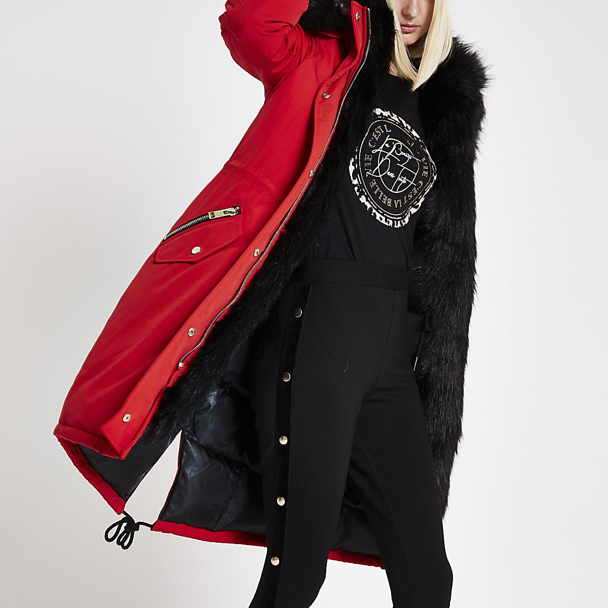 bd0a85ad53c39 Bright red faux fur trim parka coat - Coats - Coats & Jackets - women