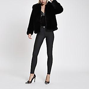 Black plush faux fur coat