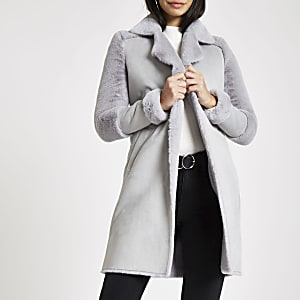 Grey faux fur lined coat