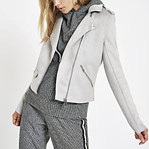 Light grey faux suede biker jacket