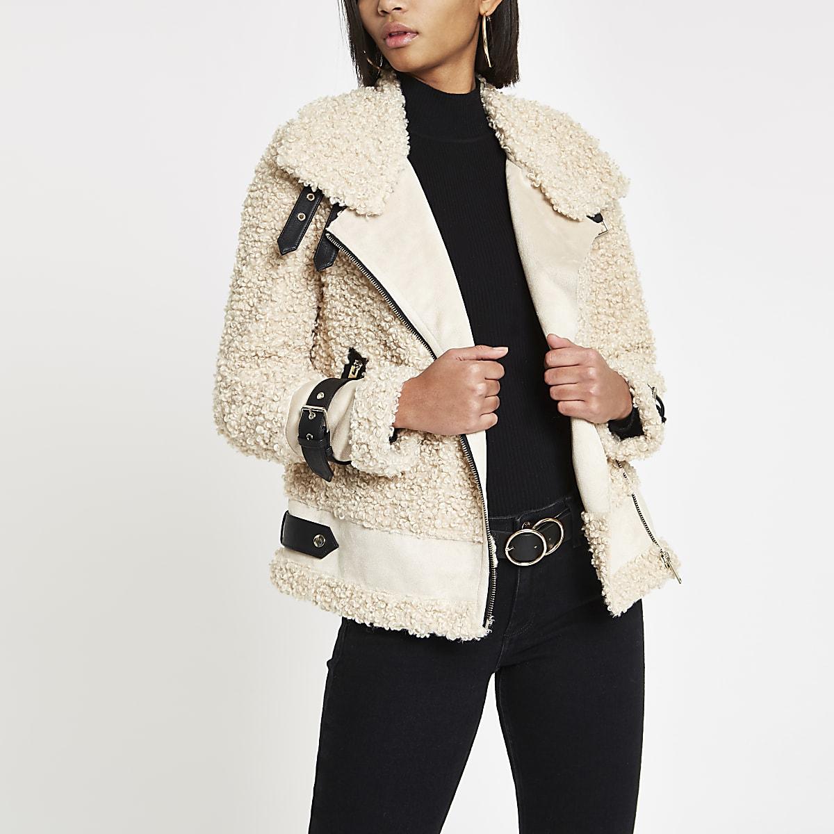 Beige fleece aviator jacket