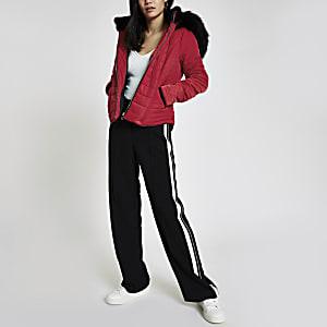 b0808633f380 Red faux fur hood padded jacket