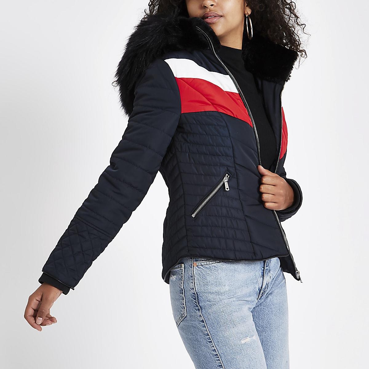 ec1bb857304 Navy faux fur hooded chevron padded jacket - Jackets - Coats & Jackets -  women