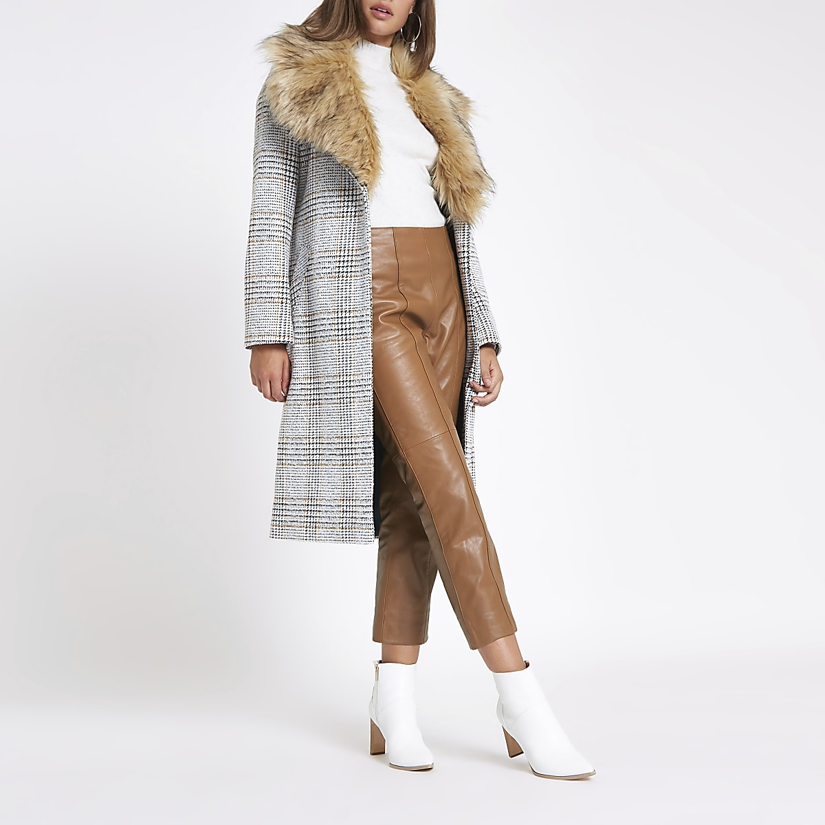 Brown leather flared pants