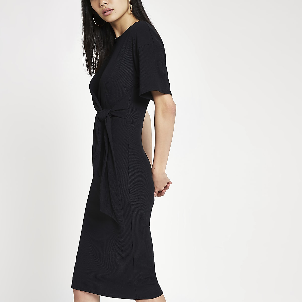 Black short sleeve tie front bodycon dress