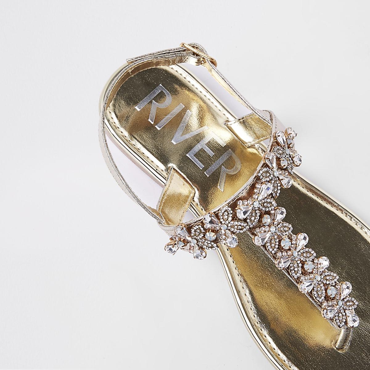 c0edbfd0364 Gold gem embellished leather sandals - Sandals - Shoes   Boots - women