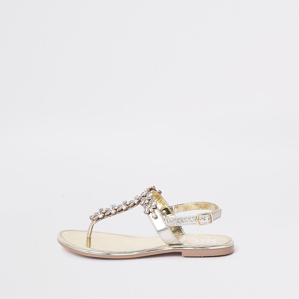 d9dbbfb6a09 Gold gem embellished leather sandals Gold gem embellished leather sandals  ...