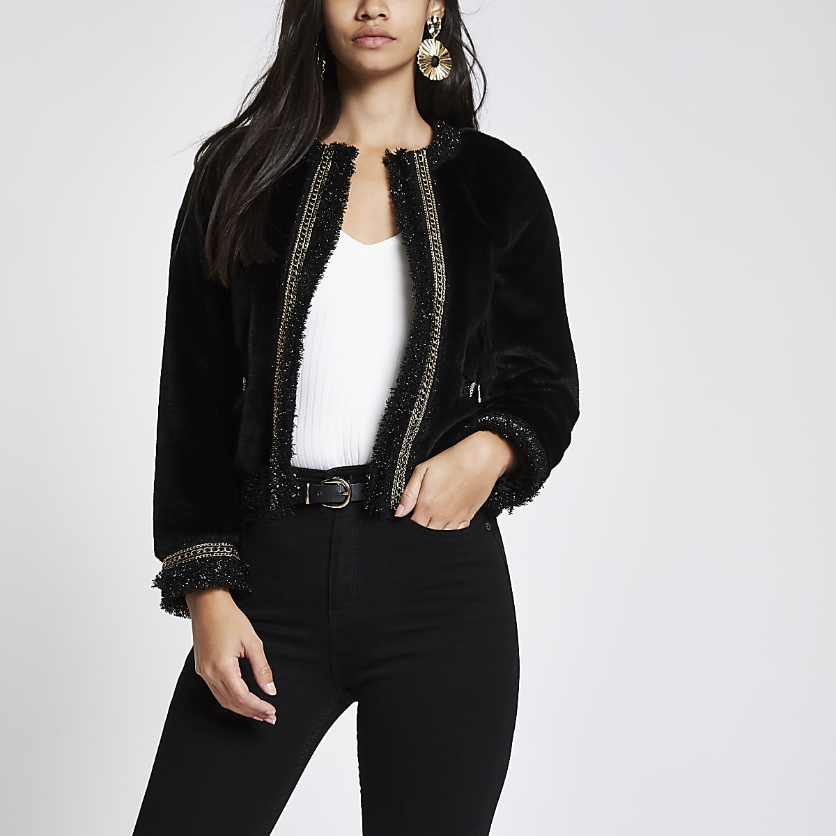 Black boucle chain trim trophy jacket