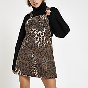 Denim leopard print pinafore overall dress