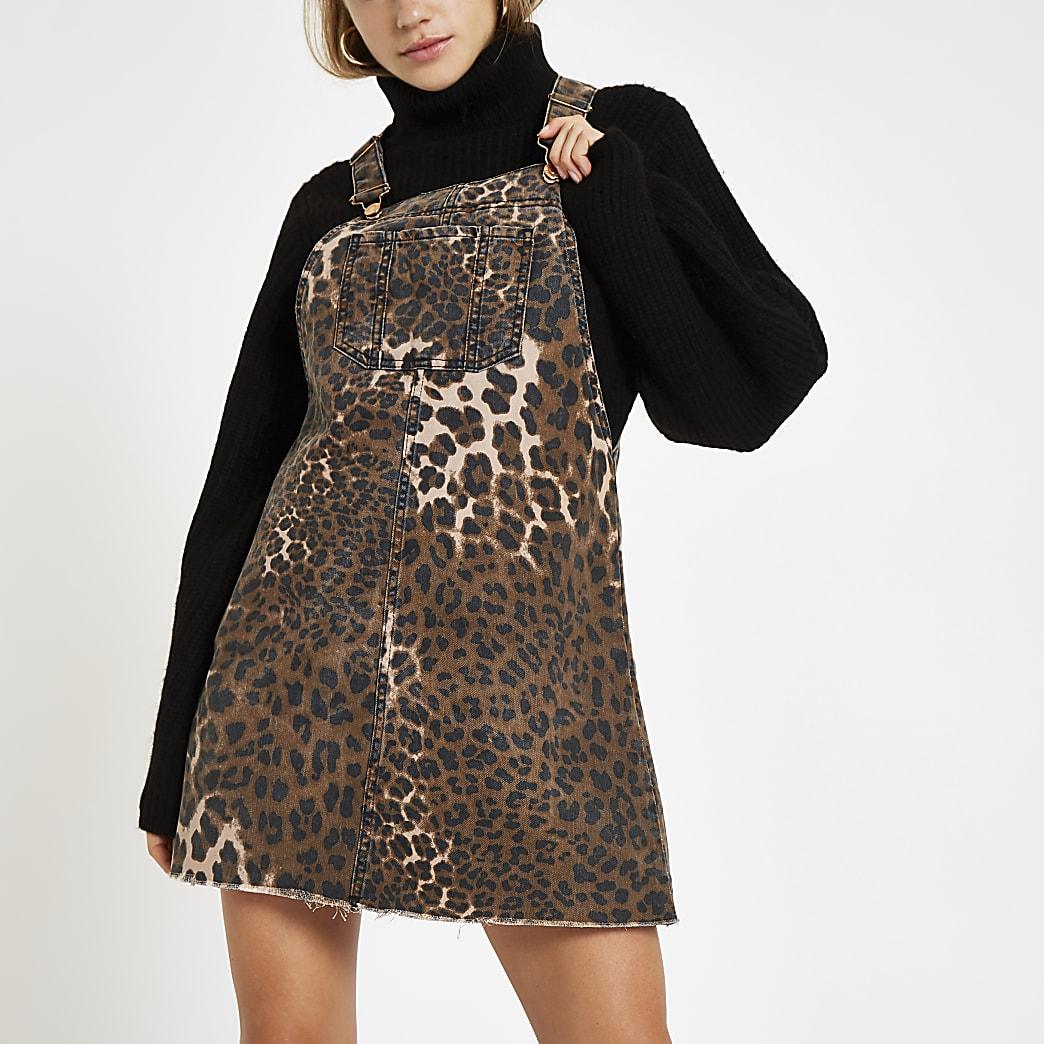 Denim leopard print pinafore dungaree dress
