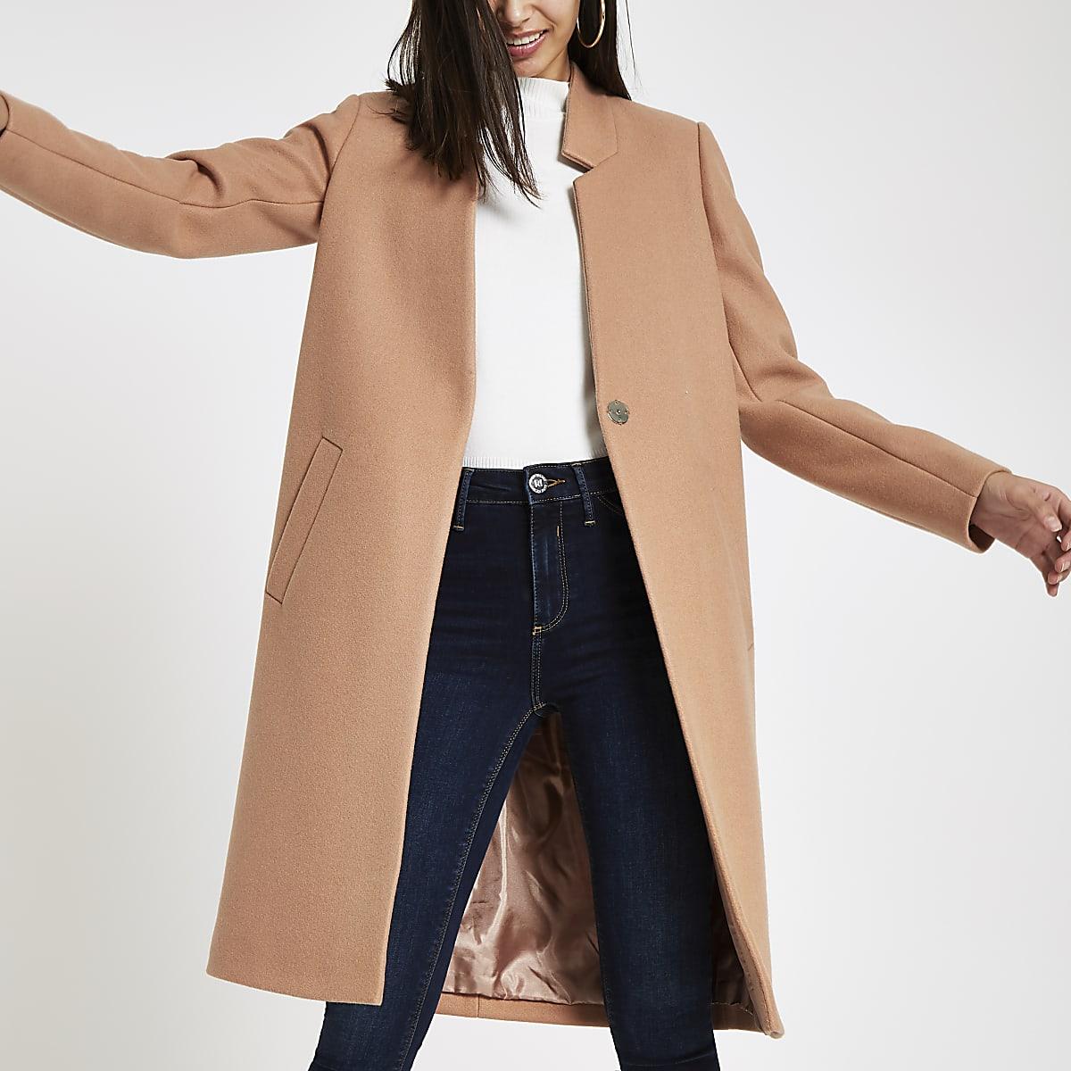Camelkleurige lange jas zonder kraag