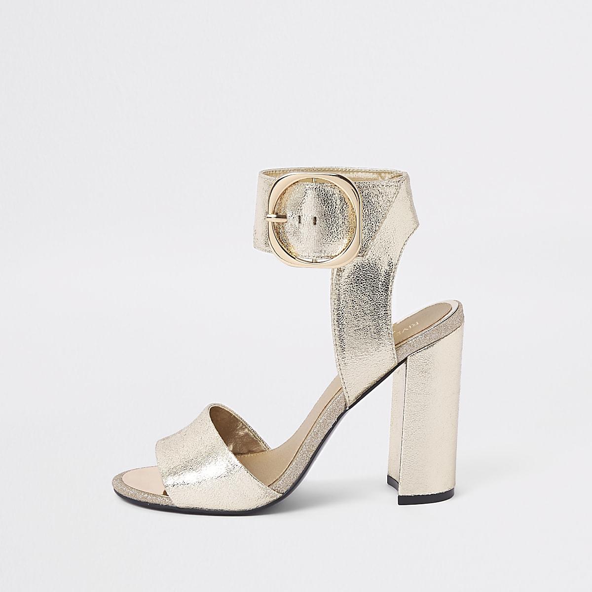 Gold metallic block heel sandals