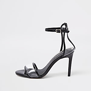 Black perspex barely there sandals