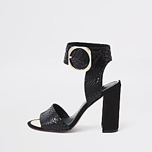 Black croc embossed block heel sandals