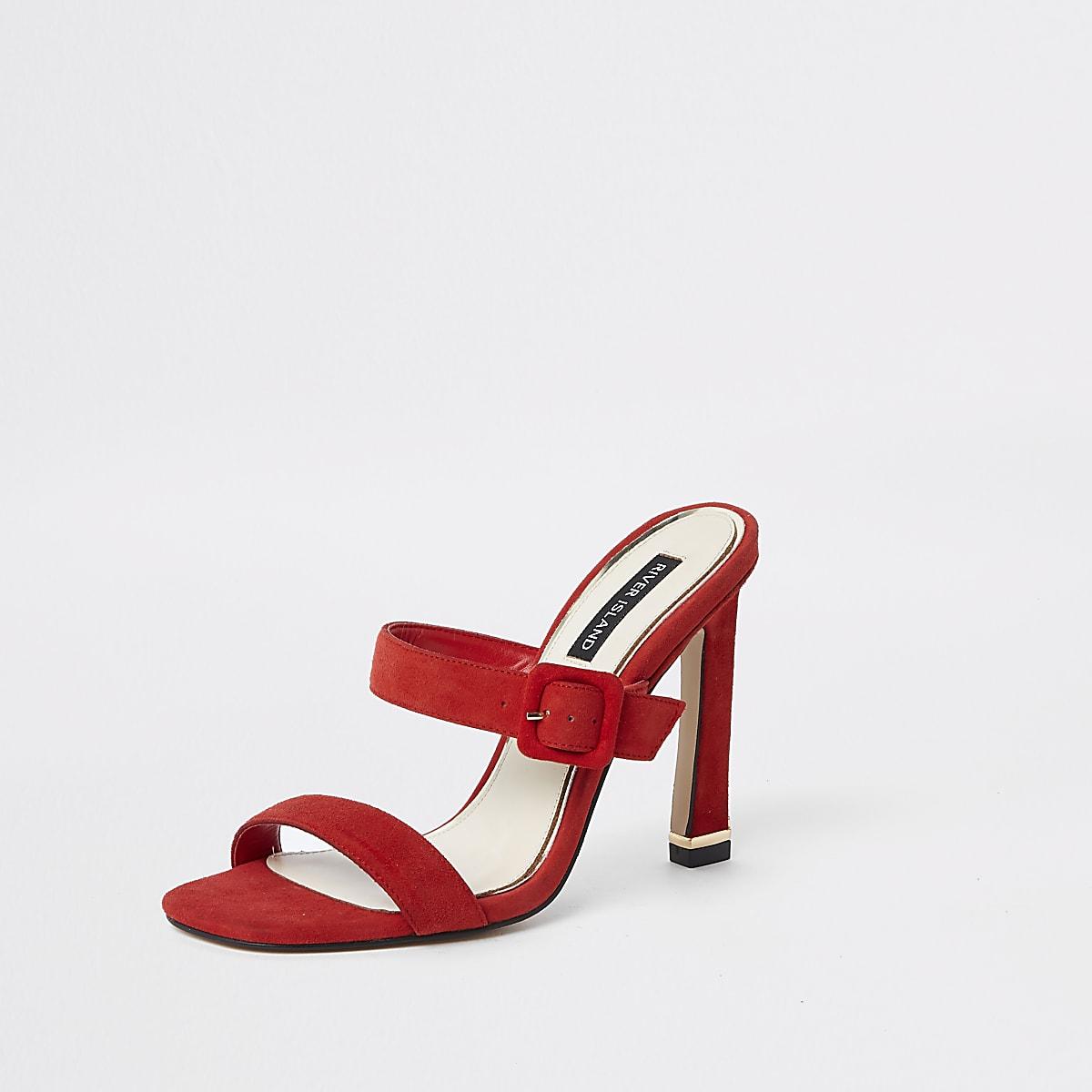 df428d4a60f5d Red suede double strap mules - Sandals - Shoes & Boots - women