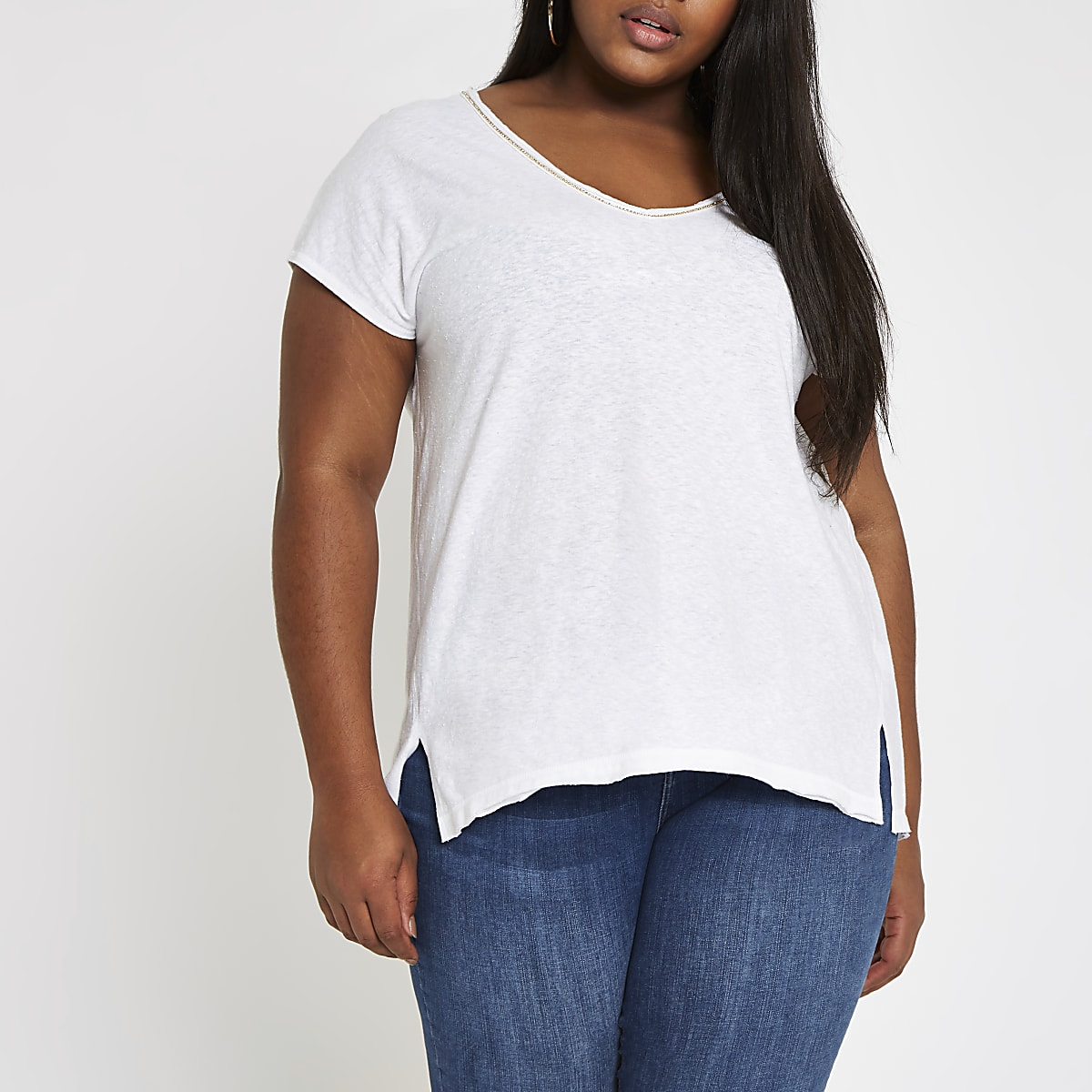 Plus white diamante neck embellished T-shirt