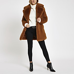 Brown faux fur longline coat