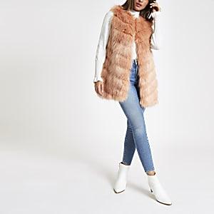 Pink faux fur chevron panelled gilet