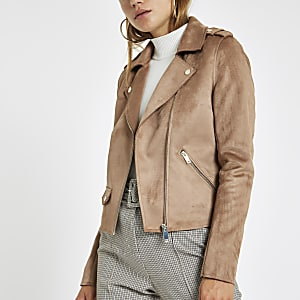 Light brown faux suede biker jacket