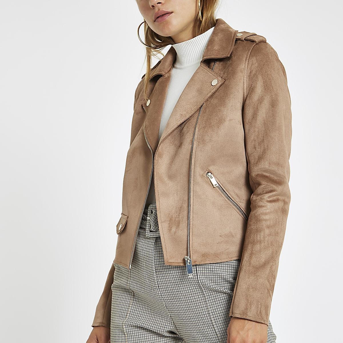 Light brown faux suede biker jacket