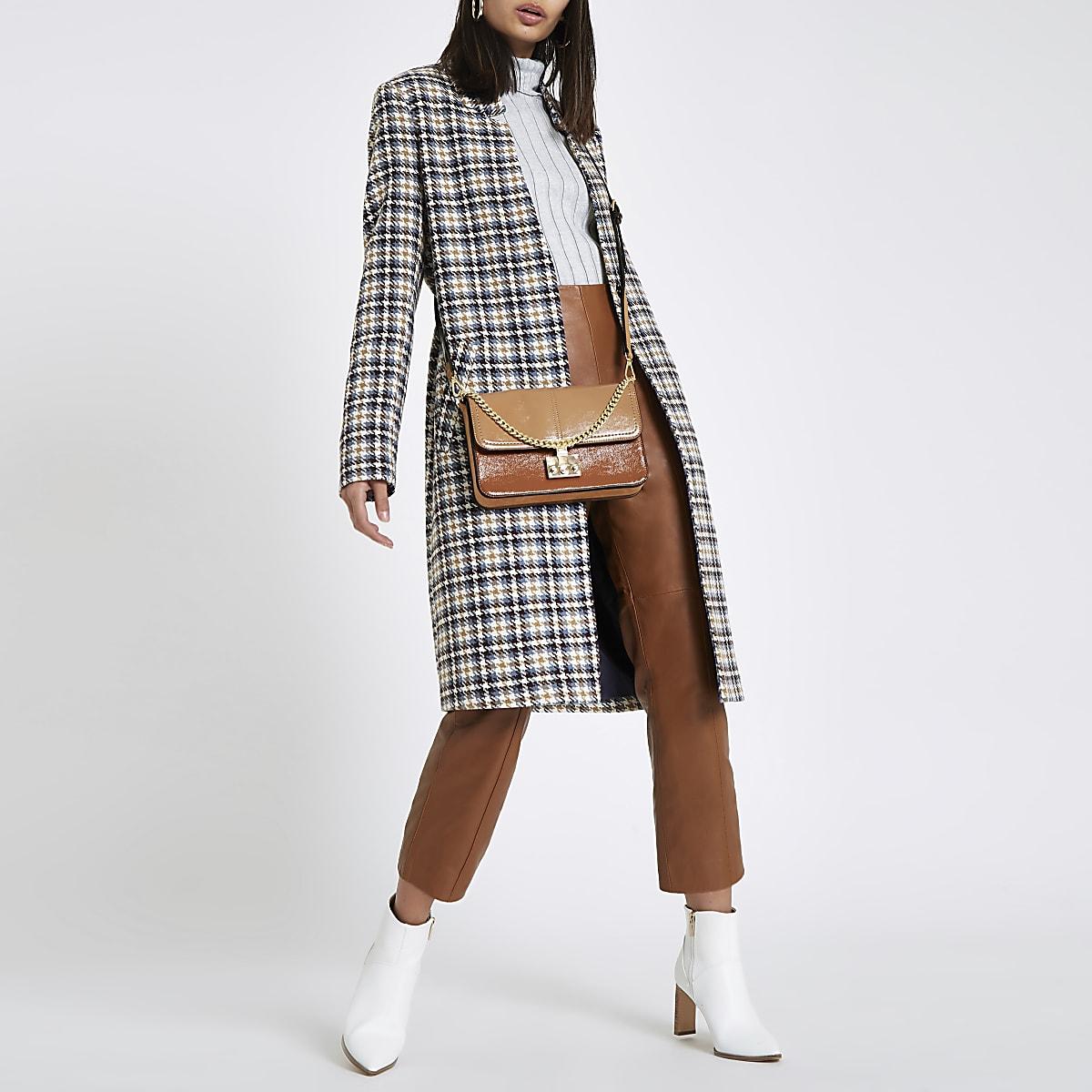 Cream check knit longline coat