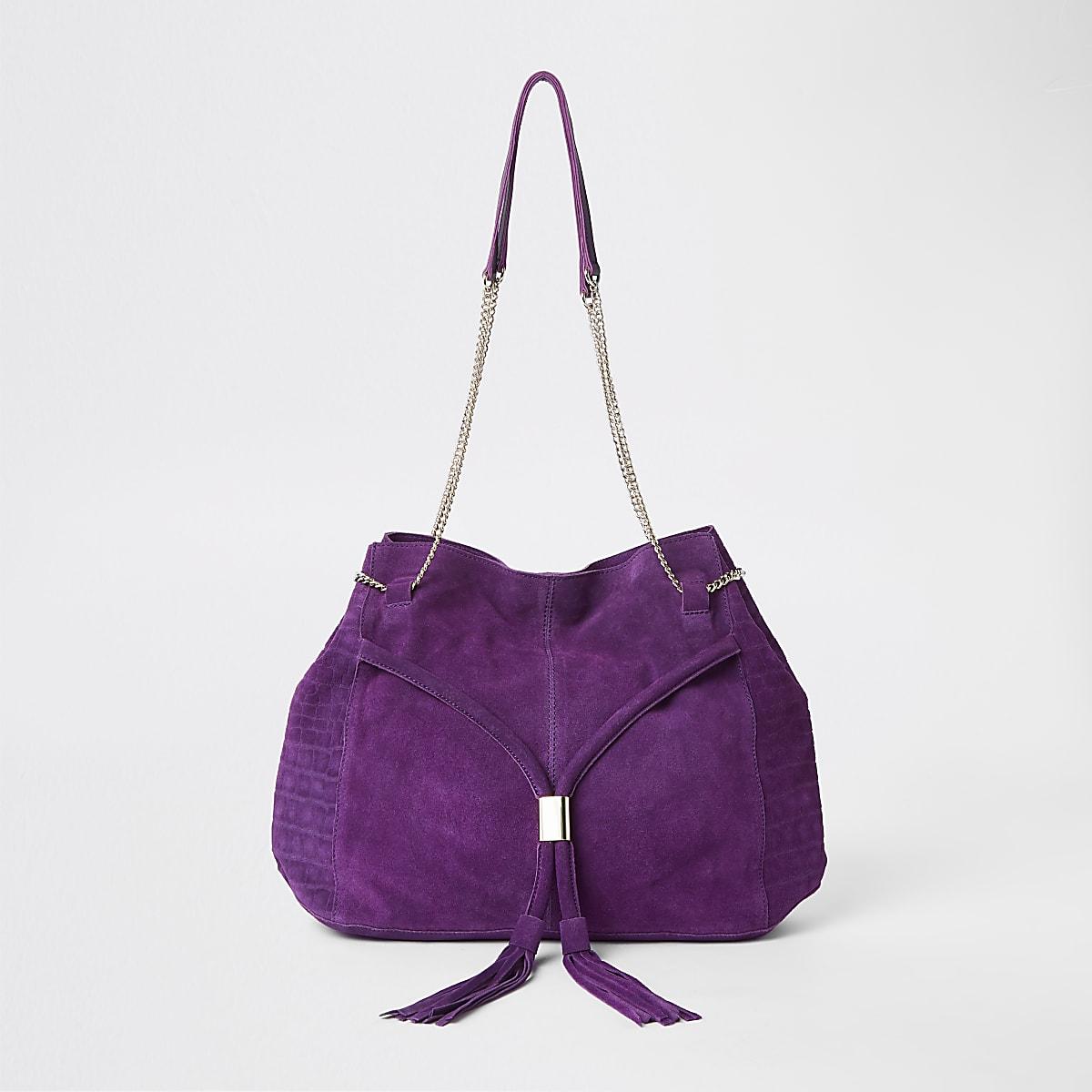Purple leathe chain slouch bag
