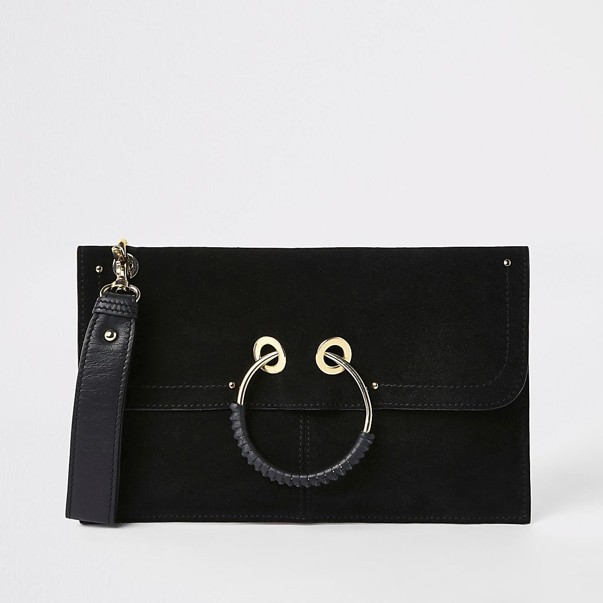 Black leather hoop front pouch clutch bag