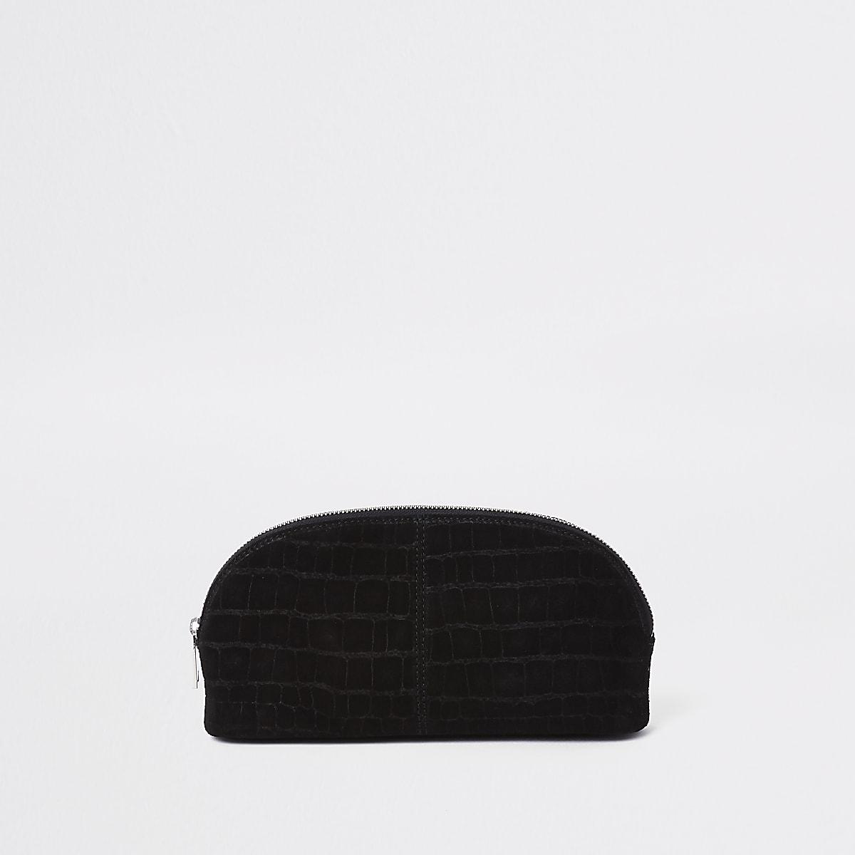 Black leather croc makeup bag
