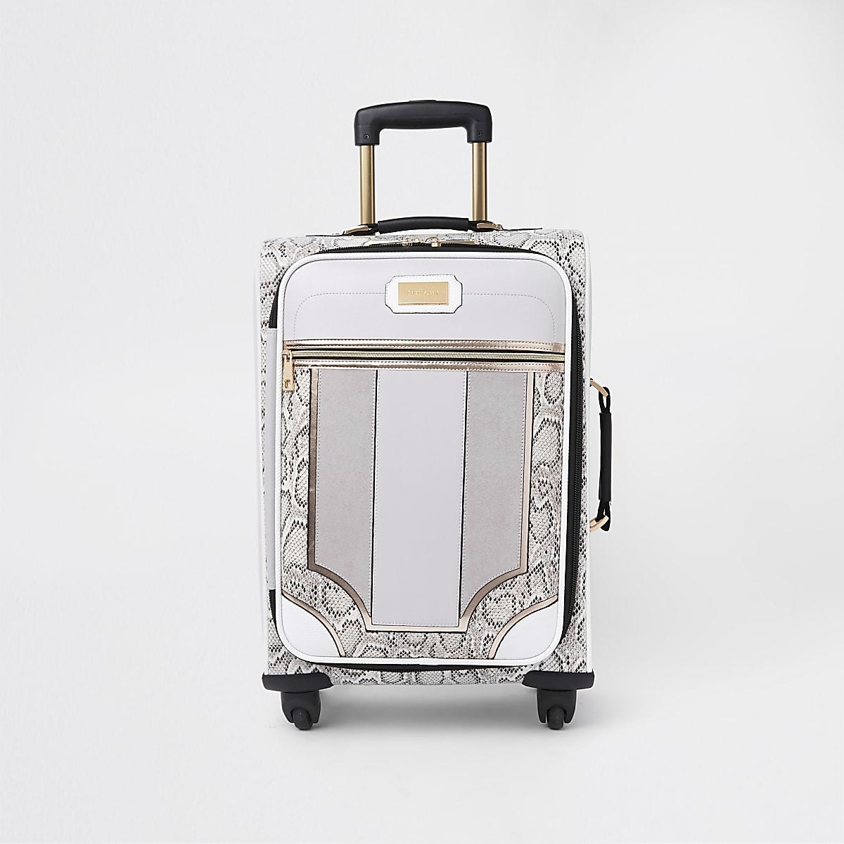 Grey snake skin panel four wheel suitcase