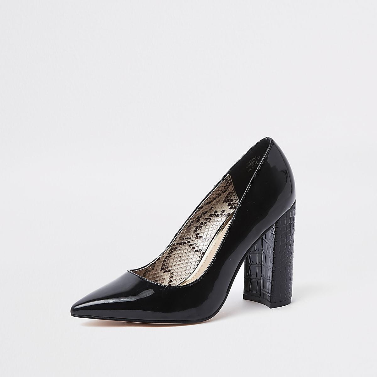 5477c7d2e72 Black wrap around block heel court shoes
