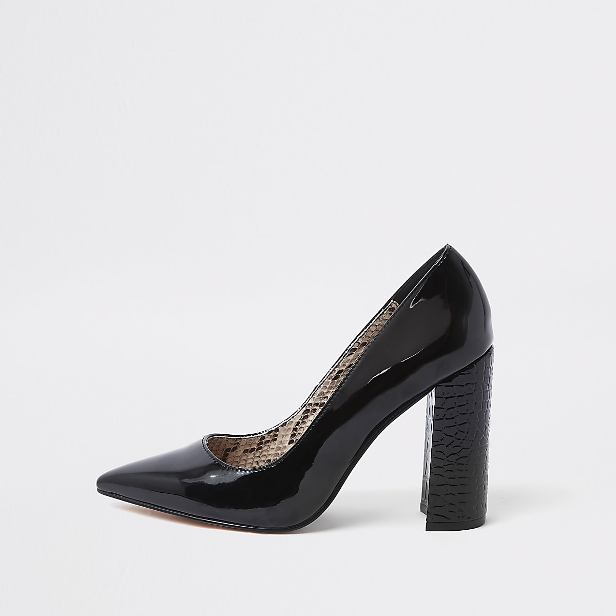Black wrap around block heel court shoes
