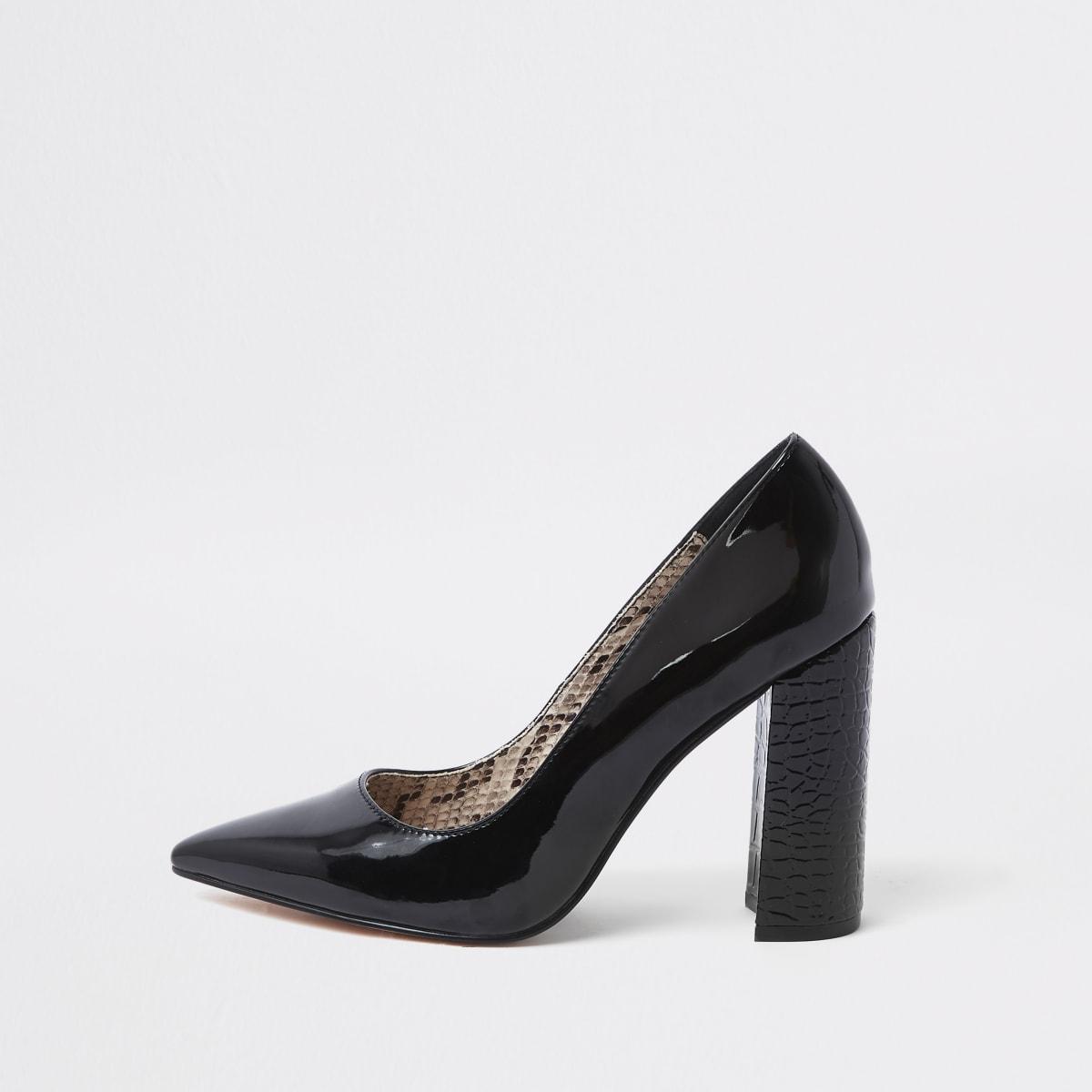 Black wrap around block heel court shoes