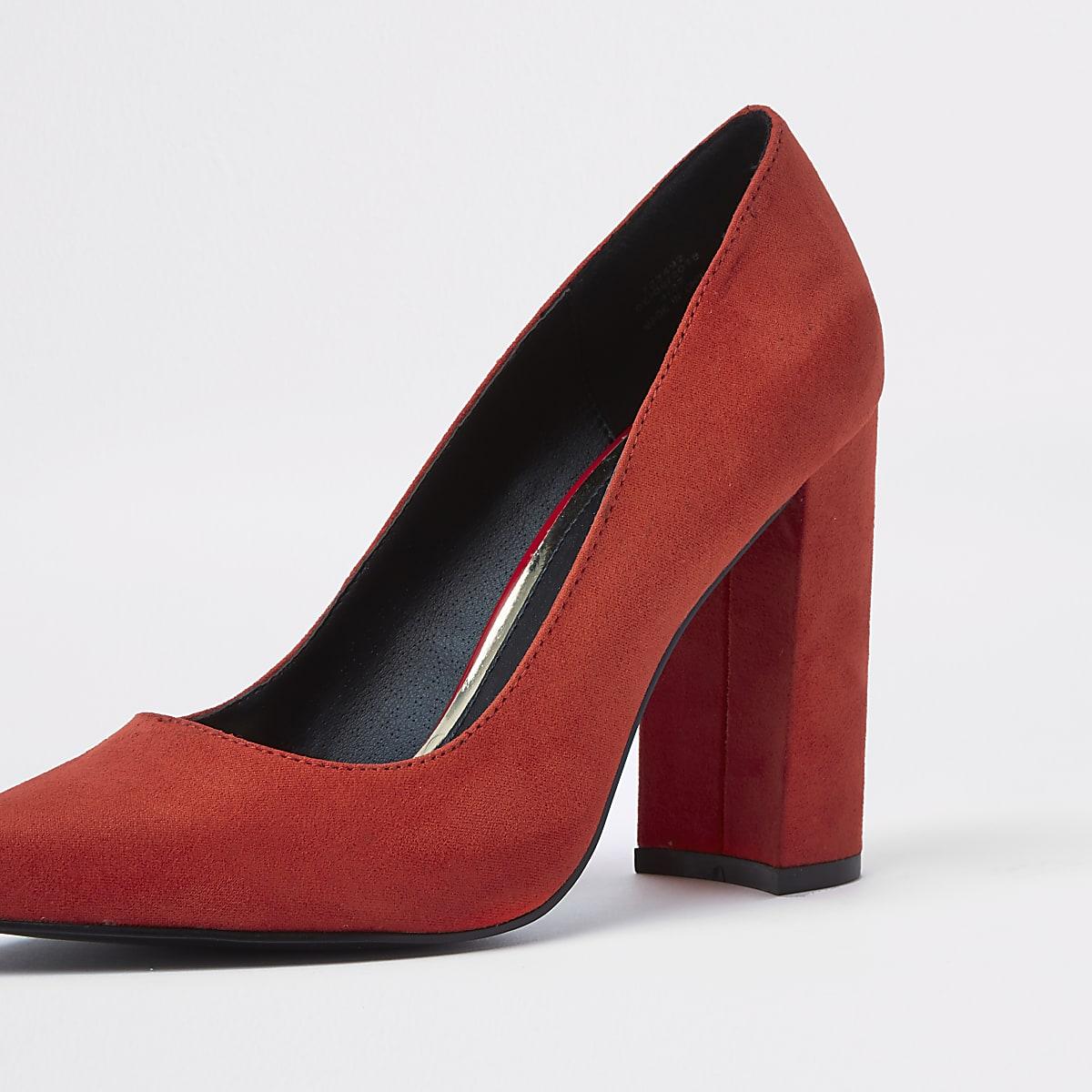 ab57f32cc0e Red wrap around block heel court shoes