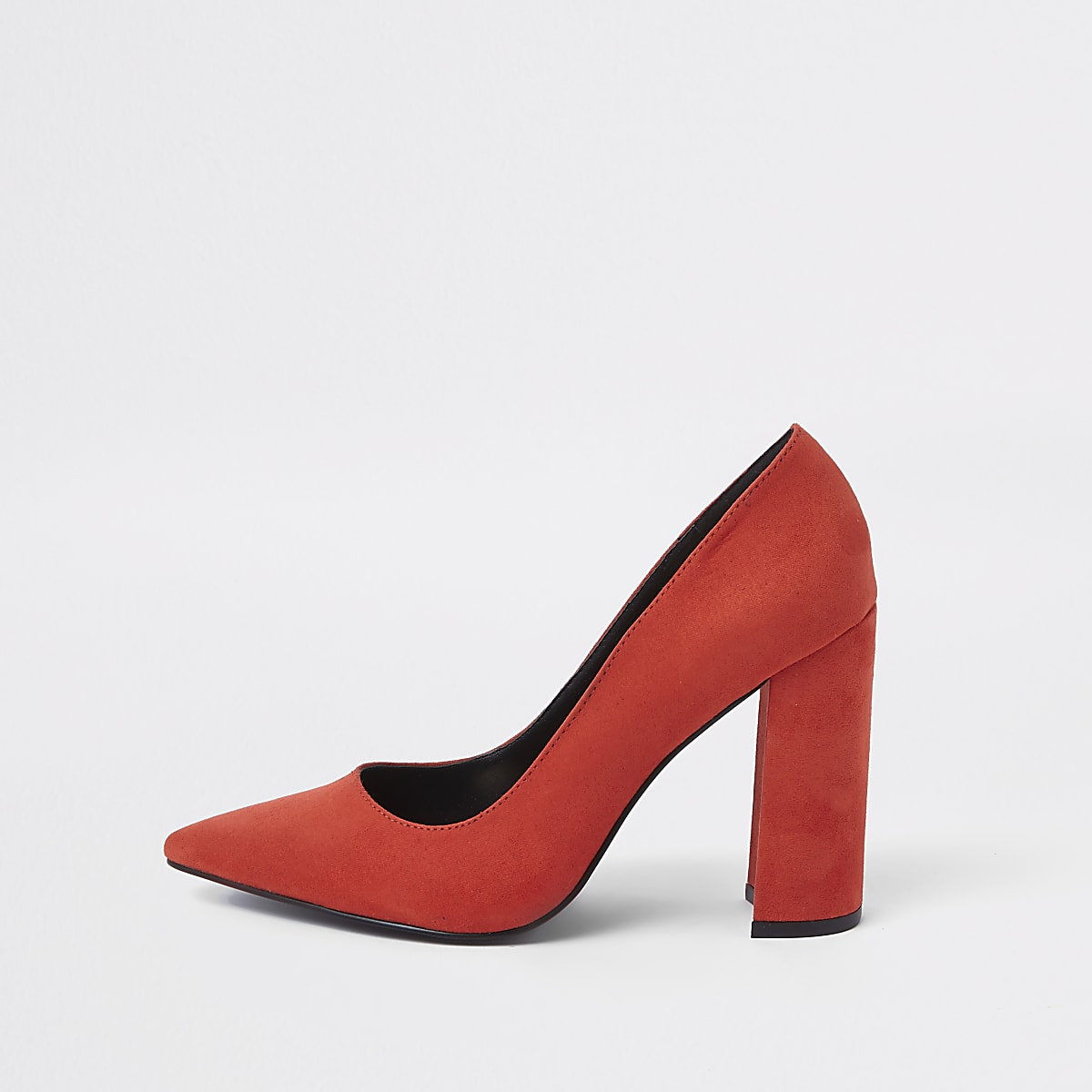 0d1ca02a0a4 Red wrap around block heel court shoes