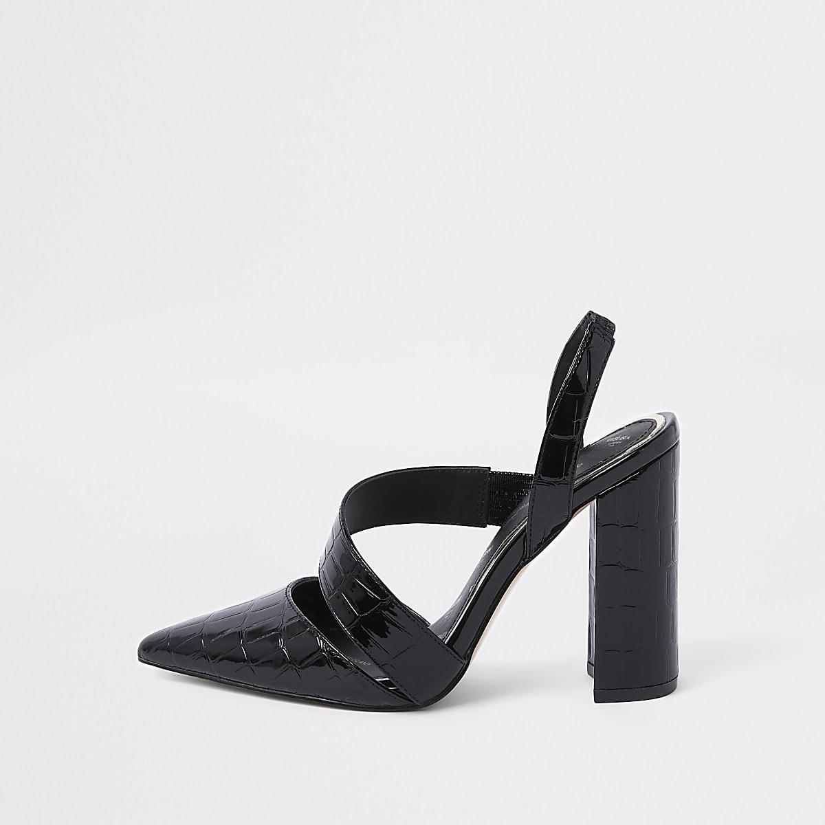Black croc asymmetric block heel pumps