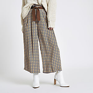 Petite brown check wide leg belted trousers