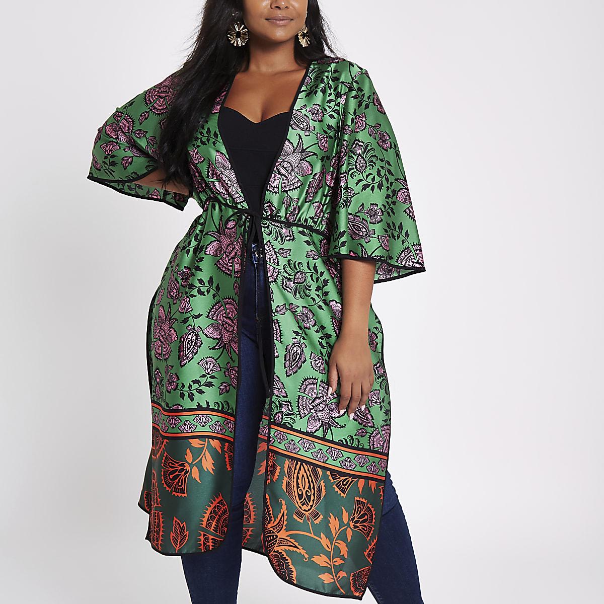 Plus green floral tie front kimono