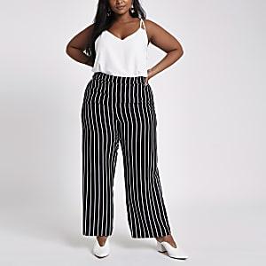 Plus – Pantalon large noir à rayures